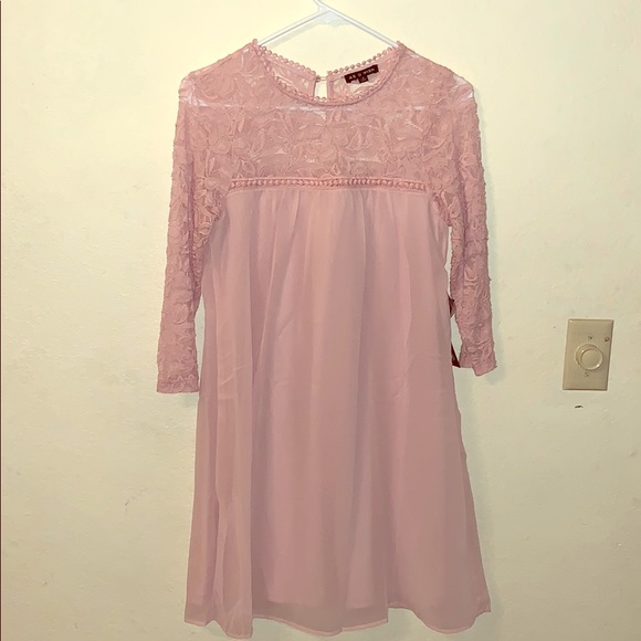 As U Wish Dresses & Skirts - Pastel Lace Pink Button Clasp 3/4 Sleeve Dress